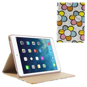 Colorized Sunflowers Smart Leather Stand Cover for iPad Mini / iPad Mini 2 with Retina Display - White
