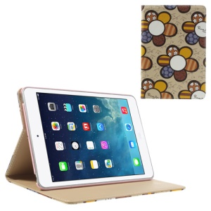 Colorized Sunflowers Stand Leather Smart Cover for iPad Mini / iPad Mini 2 with Retina Display - Beige