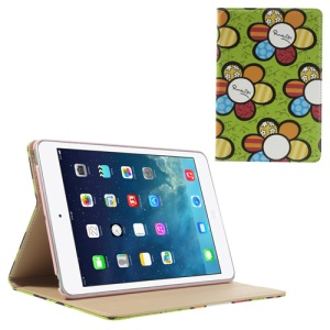 Colorized Sunflowers Leather Smart Cover w/ Stand for iPad Mini / iPad Mini 2 with Retina Display - Green