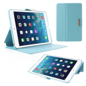 TOTU JAZZ Series Leather Smart Cover for iPad Mini / iPad Mini 2 with Retina Display w/ Stand - Blue
