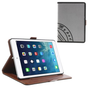 Two-color Jeans Style Smart Leather Stand Case for iPad Mini / iPad Mini 2 with Retina Display w/ Elastic Hand Strap - Black / Grey