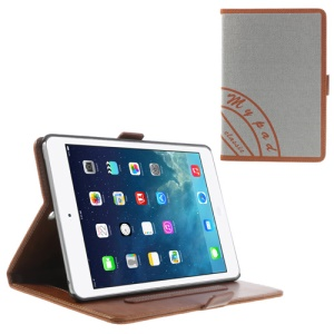 Two-color Jeans Style Smart Leather Stand Cover for iPad Mini / iPad Mini 2 with Retina Display w/ Elastic Hand Strap - Orange / Grey