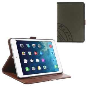 Two-color Jeans Style Stand Leather Smart Case for iPad Mini / iPad Mini 2 with Retina Display w/ Elastic Hand Strap - Black / Army Green