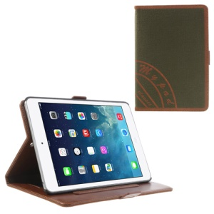 Two-color Jeans Style Stand Leather Smart Cover for iPad Mini / iPad Mini 2 with Retina Display w/ Elastic Hand Strap - Orange / Army Green