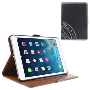 Two-color Jeans Style PU Leather Smart Cover Stand for iPad Mini / iPad Mini 2 with Retina Display w/ Elastic Hand Strap - Grey / Black