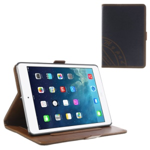 Two-color Jeans Style PU Leather Smart Case Stand for iPad Mini / iPad Mini 2 with Retina Display w/ Elastic Hand Strap - Brown / Dark Blue