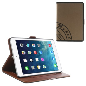Two-color Jeans Style Leather Smart Case for iPad Mini / iPad Mini 2 with Retina Display w/ Stand & Elastic Hand Strap - Black / Brown