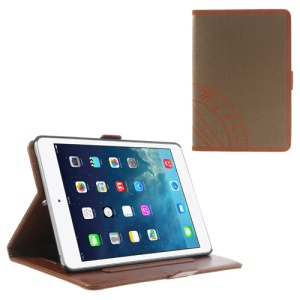 Two-color Jeans Style Leather Smart Cover for iPad Mini / iPad Mini 2 with Retina Display w/ Stand & Elastic Hand Strap - Orange / Brown