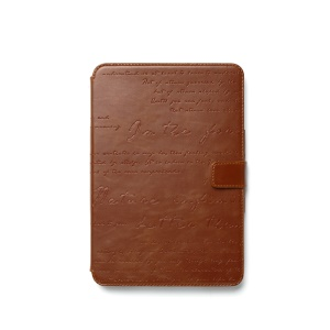 Zenus Lettering Diary Smart Wake Sleep Leather Shield Cover for iPad Mini / iPad Mini 2 - Brown