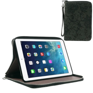Rimmed Flower Cloth Leather TPU Stand Case Zip Purse for iPad Mini / iPad Mini 2 - Black