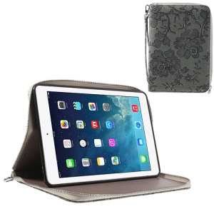 Rimmed Flower Cloth Leather TPU Stand Case Zip Purse for iPad Mini / iPad Mini 2 - Grey