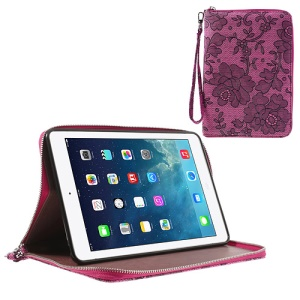 Rimmed Flower Cloth Leather TPU Stand Case Zip Purse for iPad Mini / iPad Mini 2 - Rose