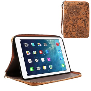 For iPad Mini / iPad Mini 2 Rimmed Flower Cloth Leather TPU Stand Zip Purse - Orange
