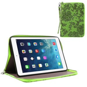 For iPad Mini / iPad Mini 2 Rimmed Flower Cloth Leather TPU Stand Zip Purse - Green