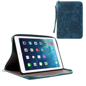 For iPad Mini / iPad Mini 2 Rimmed Flower Cloth Leather TPU Stand Zip Purse Wallet - Blue