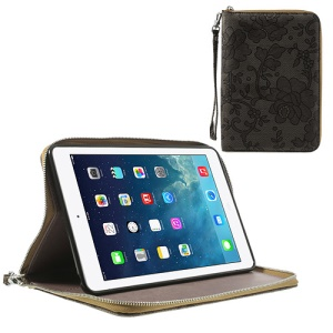 For iPad Mini / iPad Mini 2 Rimmed Flower Cloth Leather TPU Stand Zip Purse Wallet - Brown