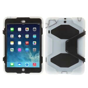 For iPad Mini / iPad Mini 2 PC & Silicone Dual Layer Extreme-Duty Shell w/ Kickstand - Clear / Black