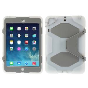 For iPad Mini / iPad Mini 2 PC & Silicone Dual Layer Extreme-Duty Shell w/ Kickstand - Clear / Grey