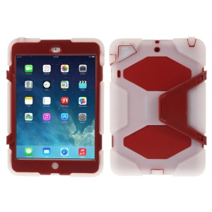PC & Silicone Dual Layer Extreme-Duty Case w/ Kickstand for iPad Mini / iPad Mini 2 - Clear / Red