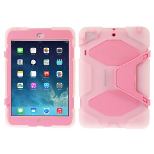PC & Silicone Dual Layer Extreme-Duty Case w/ Kickstand for iPad Mini / iPad Mini 2 - Clear / Pink