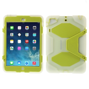 PC & Silicone Dual Layer Extreme-Duty Case w/ Kickstand for iPad Mini / iPad Mini 2 - Clear / Green