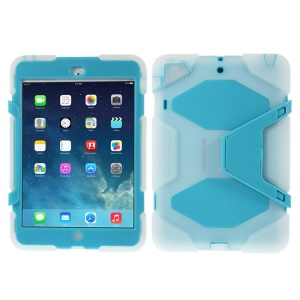 PC & Silicone Dual Layer Extreme-Duty Cover w/ Kickstand for iPad Mini / iPad Mini 2 - Clear / Light Blue