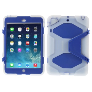 PC & Silicone Dual Layer Extreme-Duty Cover w/ Kickstand for iPad Mini / iPad Mini 2 - Clear / Dark Blue