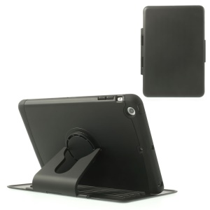 360 Degree Rotary Stand Plastic & TPU Flip Case for iPad Mini / iPad Mini 2 - Black