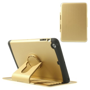 360 Degree Rotary Stand Plastic & TPU Flip Cover for iPad Mini / iPad Mini 2 - Gold
