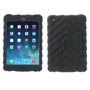 Black Heavy Duty Tyre Texture Silicone & PC Hybrid Case w/ Kickstand for iPad Mini / iPad Mini 2