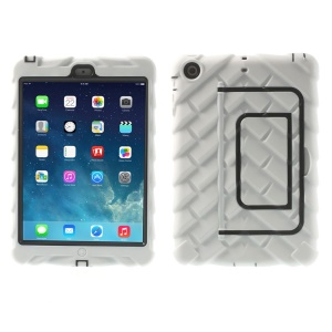 White Heavy Duty Tyre Texture Silicone & PC Hybrid Kickstand Cover for iPad Mini / iPad Mini 2