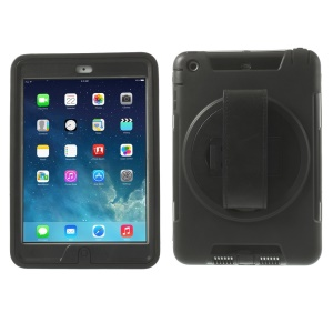 TPU & PC Back Case + Transparent Front Cover w/ Kickstand & Wristband for iPad Mini / iPad Mini 2 - Black