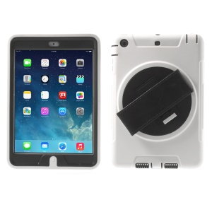 TPU & PC Back Case + Transparent Front Cover w/ Kickstand & Wristband for iPad Mini / iPad Mini 2 - White