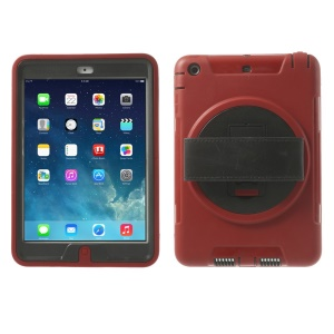 TPU & PC Back Case + Transparent Front Cover w/ Kickstand & Wristband for iPad Mini / iPad Mini 2 - Red