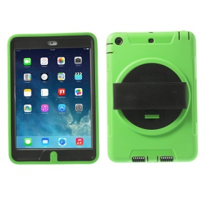 TPU & PC Back Case + Transparent Front Cover w/ Kickstand & Wristband for iPad Mini / iPad Mini 2 - Green