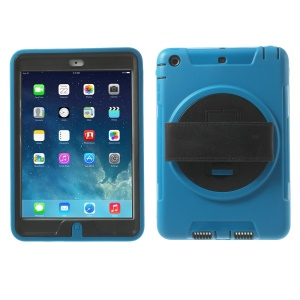 TPU & PC Back Case + Transparent Front Cover w/ Kickstand & Wristband for iPad Mini / iPad Mini 2 - Light Blue