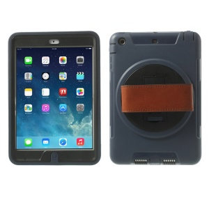 TPU & PC Back Case + Transparent Front Cover w/ Kickstand & Wristband for iPad Mini / iPad Mini 2 - Dark Blue