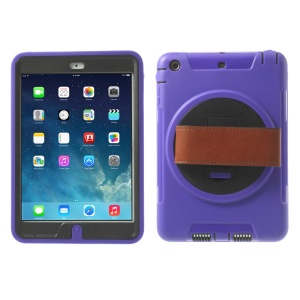 TPU & PC Back Case + Transparent Front Cover w/ Kickstand & Wristband for iPad Mini / iPad Mini 2 - Purple