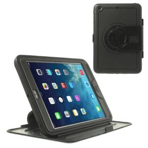 360 Degree Rotary Stand PC Flip Case w/ Transparent Front Cover for iPad Mini / iPad Mini 2 - Black