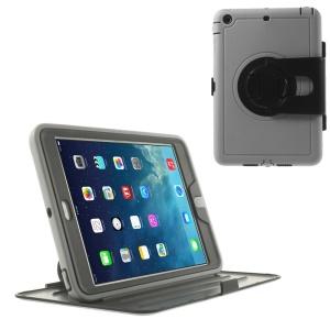 360 Degree Rotary Stand PC Flip Shell w/ Transparent Front Cover for iPad Mini / iPad Mini 2 - Gray