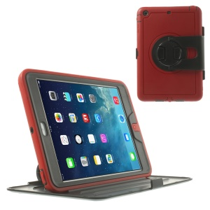 360 Degree Rotary Flip PC Stand Shell w/ Transparent Front Cover for iPad Mini / iPad Mini 2 - Red