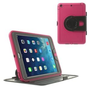 360 Degree Rotary Flip PC Stand Case w/ Transparent Front Cover for iPad Mini / iPad Mini 2 - Rose