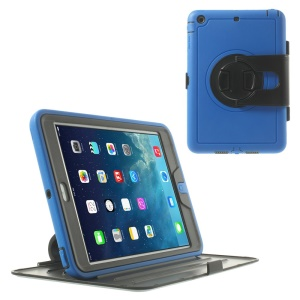 360 Degree Rotary Flip PC Hard Cover w/ Transparent Front Cover for iPad Mini / iPad Mini 2 - Blue