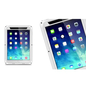 LOVE MEI Powerful for iPad Mini / iPad Mini 2 Metal + Silicone Hybrid Cover w/ Screen Protector - White