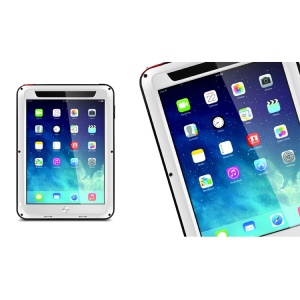LOVE MEI Powerful for iPad Mini / iPad Mini 2 Metal + Silicone Hybrid Cover w/ Screen Protector - White / Black