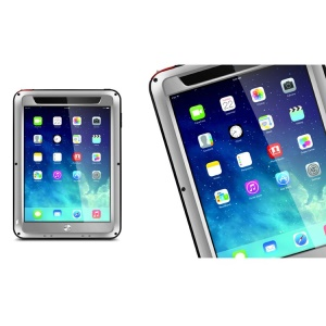 LOVE MEI Powerful for iPad Mini / iPad Mini 2 Metal + Silicone Hybrid Shell w/ Screen Protector - Silver
