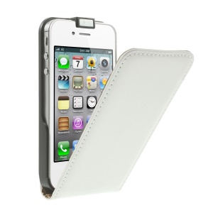 Vertical Flip Genuine Split Leather Case for iPhone 4s 4 - White