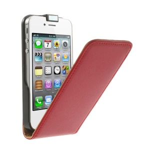 Vertical Flip Genuine Split Leather Cover for iPhone 4s 4 - Red