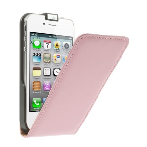 Vertical Flip Genuine Split Leather Shell for iPhone 4s 4 - Pink
