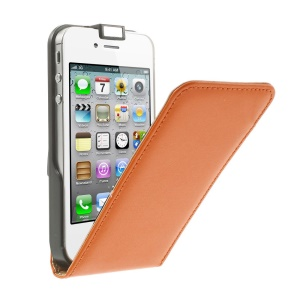 Vertical Flip Genuine Split Leather Magnetic Shell for iPhone 4s 4 - Orange